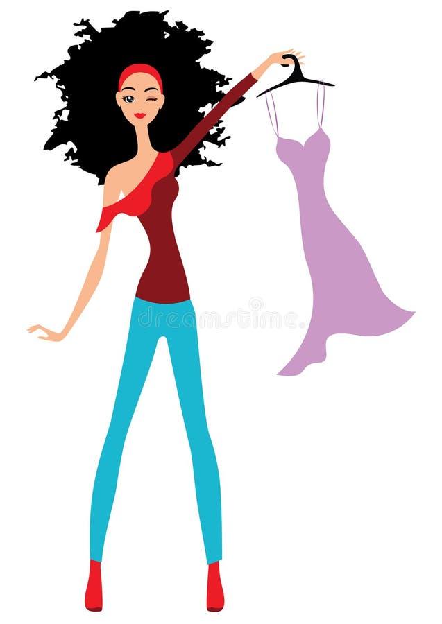 Visningklänning för ung kvinna stock illustrationer
