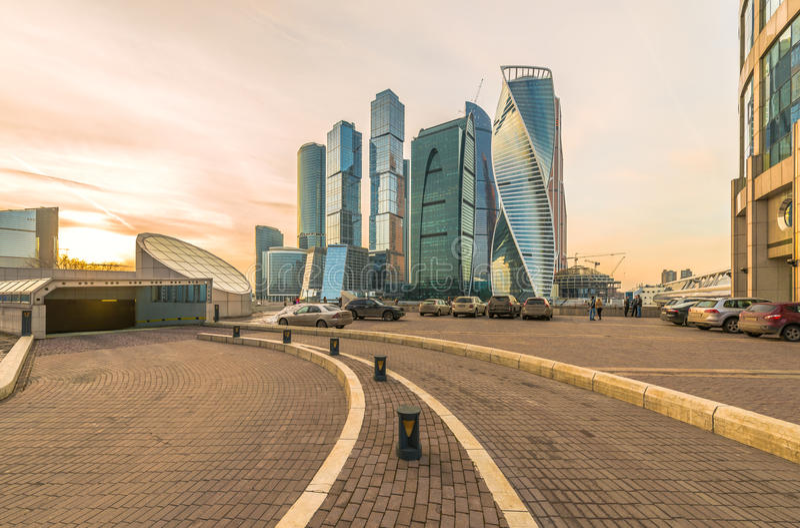 Visningplattform mitt emot Moskvastad royaltyfria bilder
