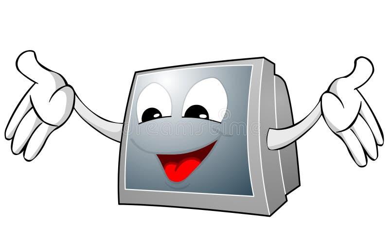 Viso e mani della TV illustrazione di stock