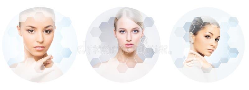 Viso umano in un collage Giovane e donna in buona salute nella chirurgia plastica, nella medicina, in stazione termale e nella ra immagini stock