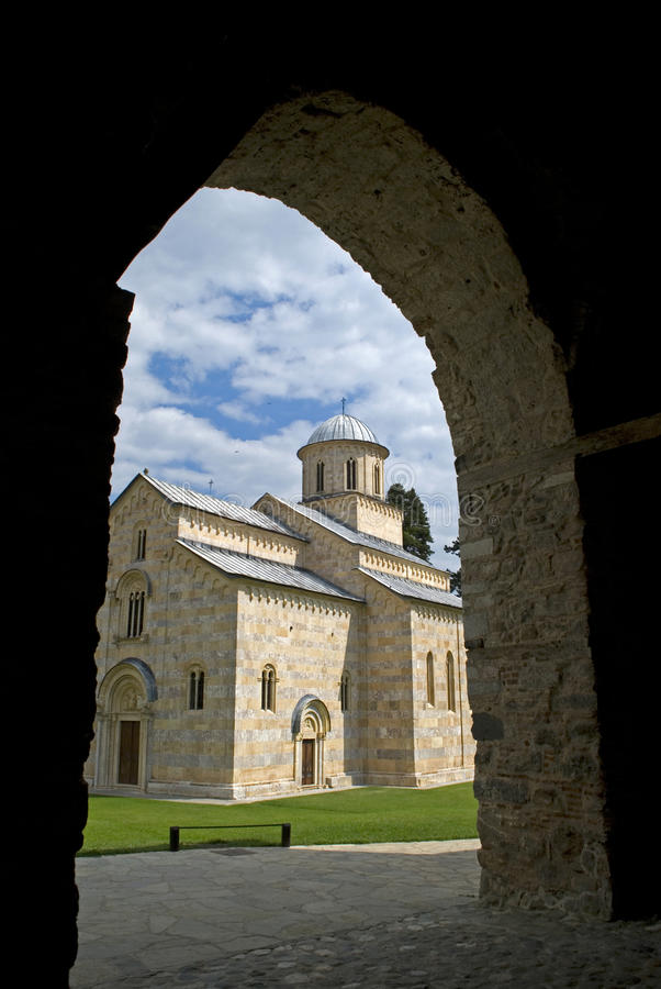 Visoki serbisk ortodox kloster, Decani, Kosovo royaltyfri bild