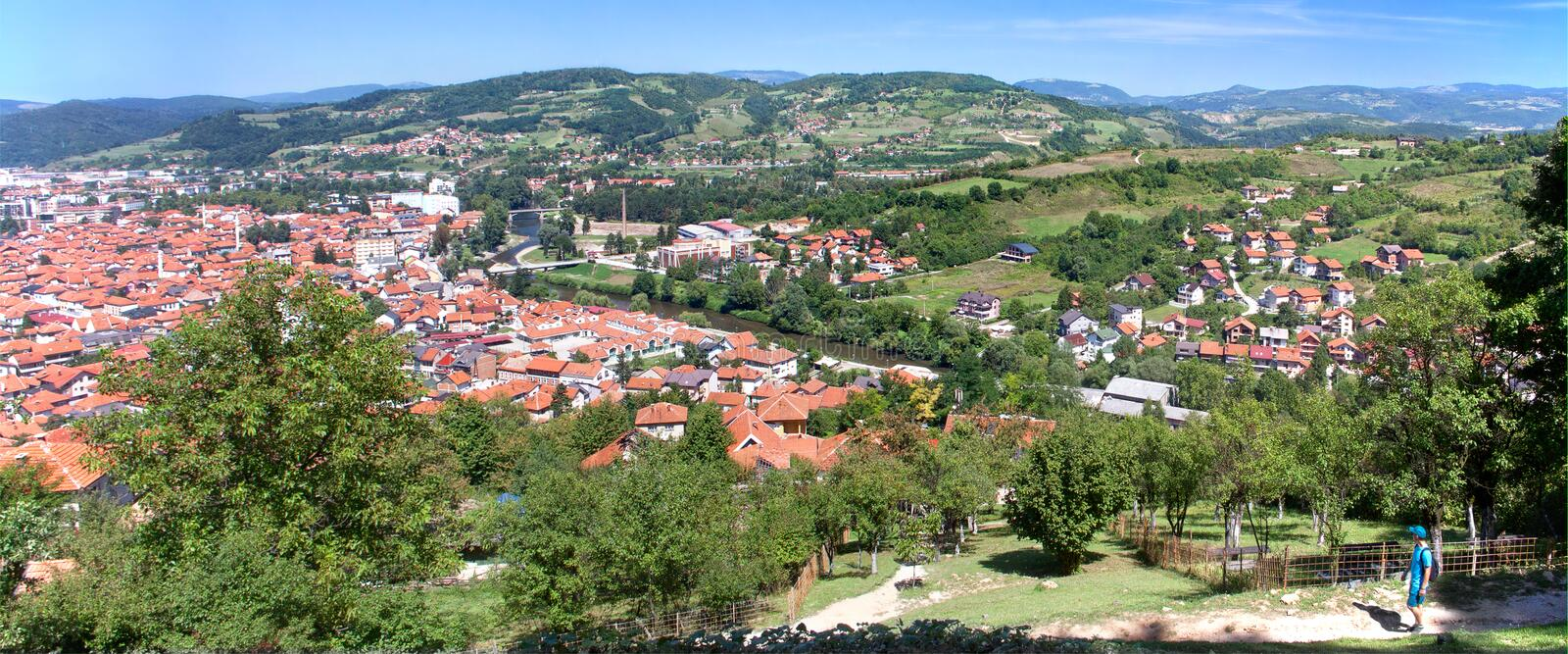 Visoko and Bosna river, Bosnia and Herzegovina, Europa, 18.8.2019. Bosnia and Herzegovina, Visoko city and Bosna river, Europe, large panorama picture in summer stock photography