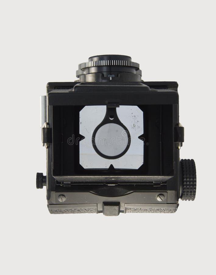 Visor aberto da opinião superior da câmera do clássico 120mm TLR imagens de stock royalty free
