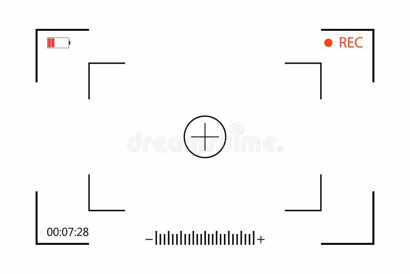 Visor de la cámara con el ajuste del tiroteo en la pantalla Grabación de la cámara del visor en el fondo blanco ilustración del vector