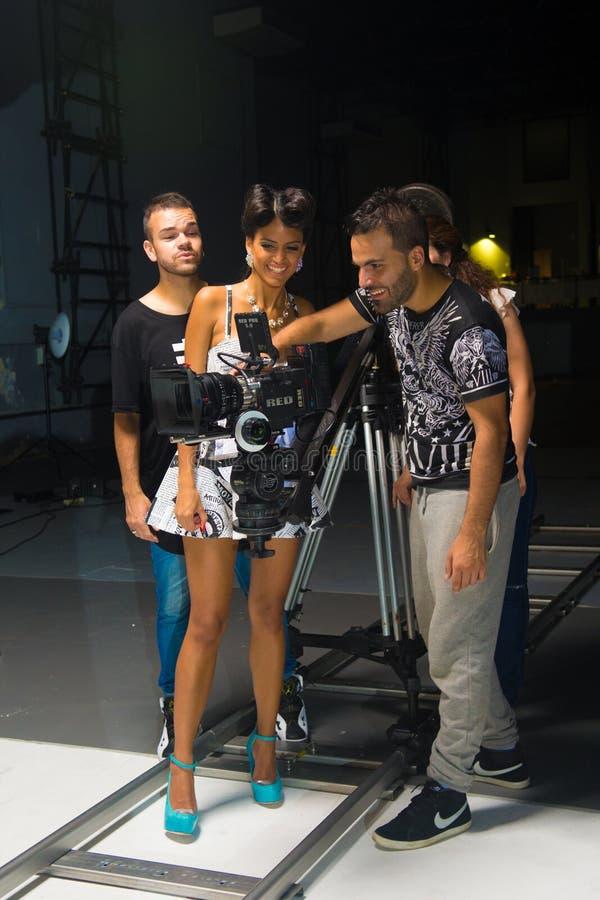 Visor de observação da câmera do cantor e do grupo, filmando a vídeo clip fotografia de stock royalty free