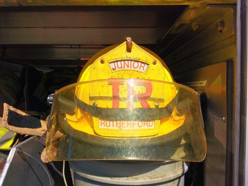 Visor of a Firefighter Helmet, Junior, Rutherford, NJ, USA stock images