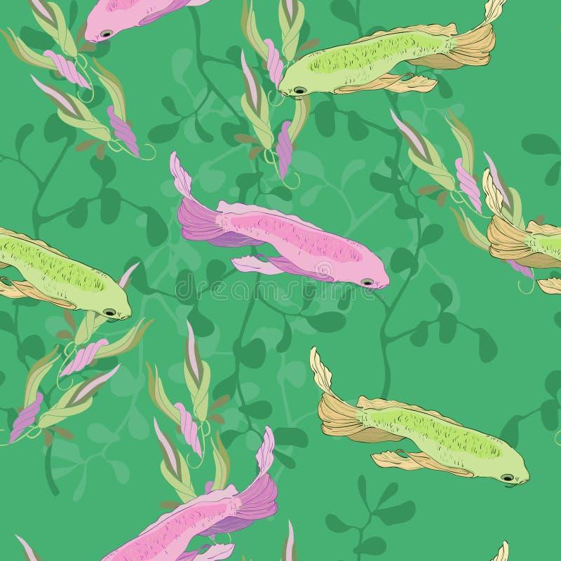 Vissen in aquarium stock illustratie