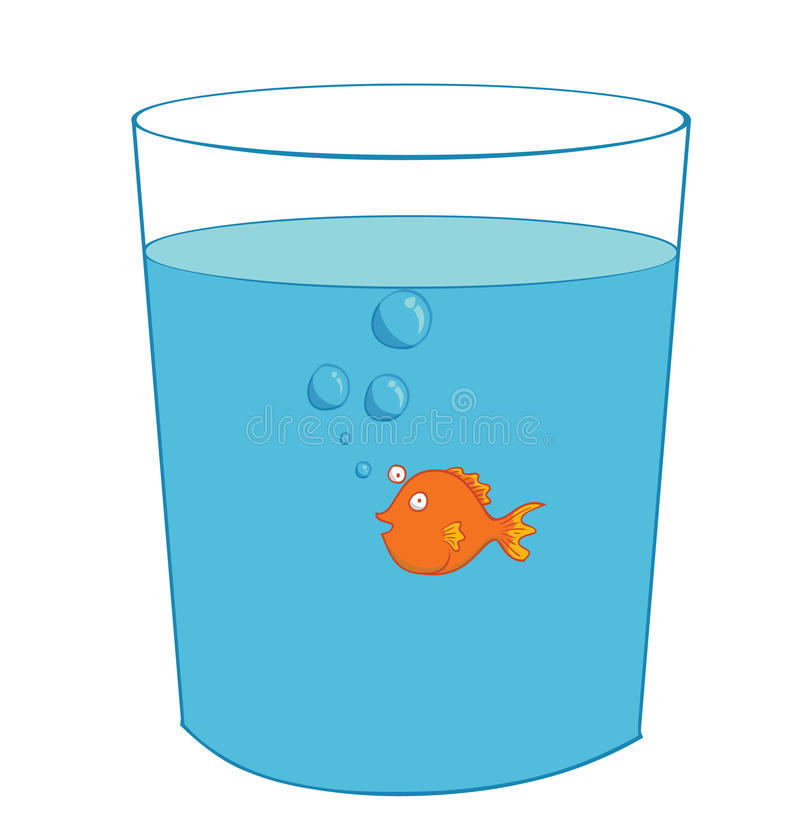 Vissen binnen een glas vector illustratie