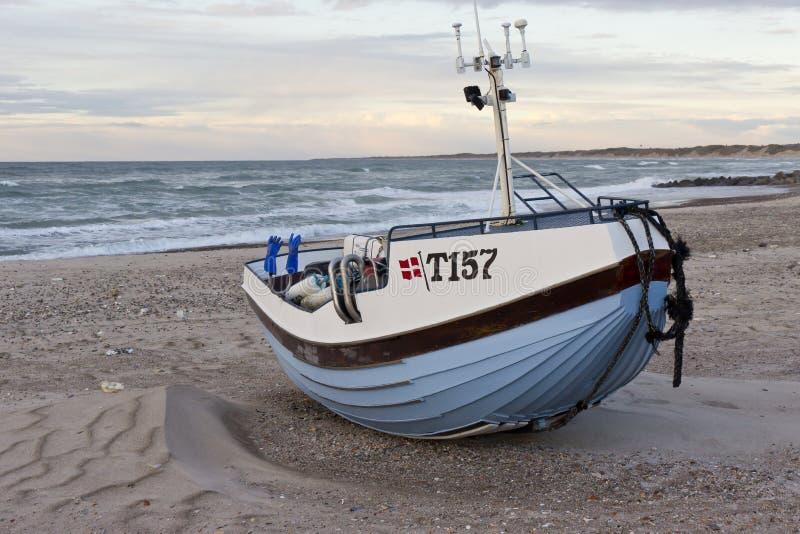 Vissen-boot Vorupoer Denemarken stock afbeeldingen