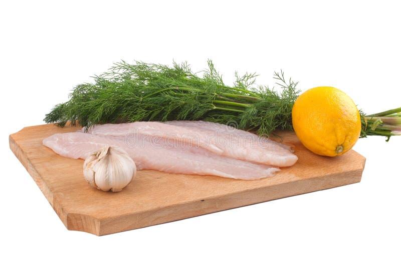 Vissen, citroen en verse dille stock foto