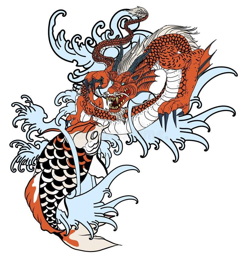 Vissen de hand getrokken Draak en koi met bloemtatoegering voor Wapen, Japans de tekening van de karperlijn het kleuren boek vect royalty-vrije illustratie