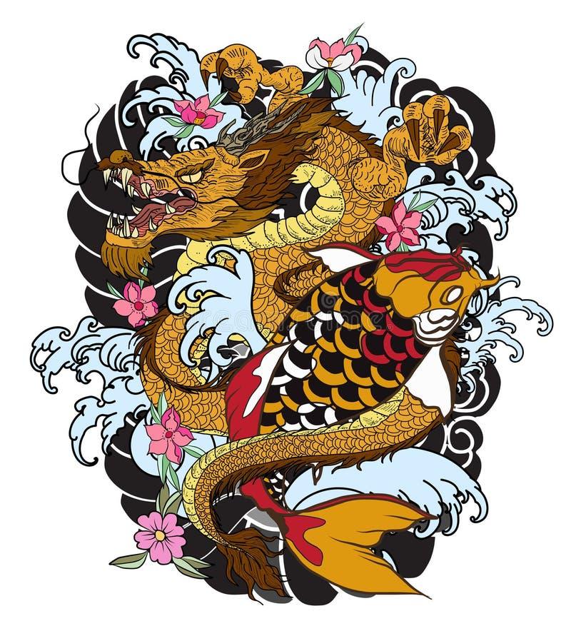 Vissen de hand getrokken Draak en koi met bloemtatoegering voor Wapen, Japans de tekening van de karperlijn het kleuren boek vect stock illustratie