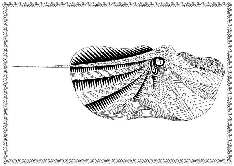 Vissen in de kunst van de zenstijl op witte achtergrond, helling stock illustratie