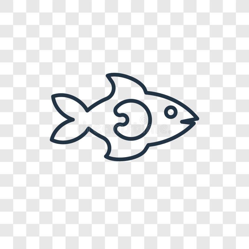 Vissen die Juist concepten vector lineair die pictogram onder ogen zien op transpa wordt geïsoleerd vector illustratie