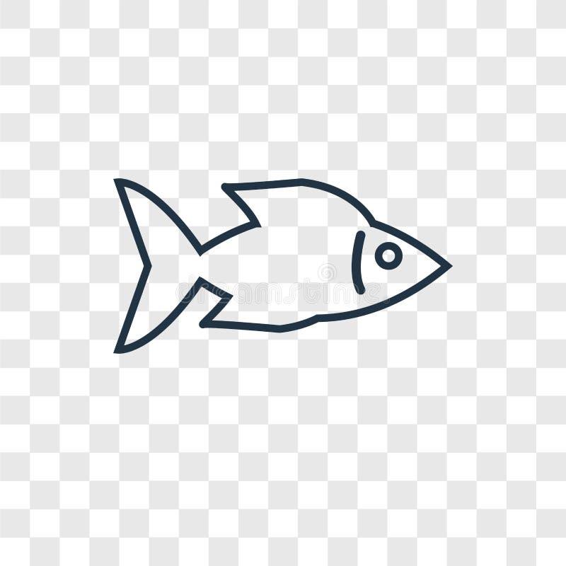 Vissen die Juist concepten vector lineair die pictogram onder ogen zien op transpa wordt geïsoleerd stock illustratie