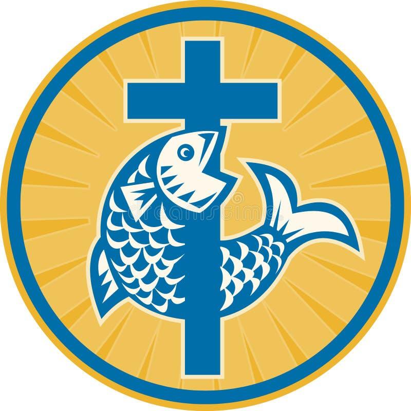 Vissen die met Dwars Retro springen royalty-vrije illustratie