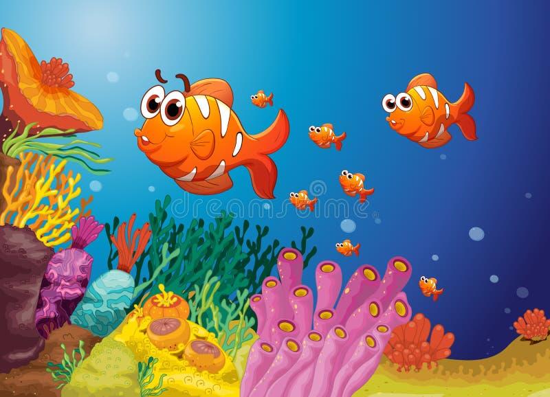 Vissen in een blauw water stock illustratie