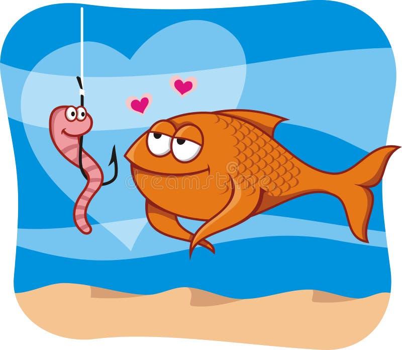 Vissen en aas in liefde royalty-vrije illustratie