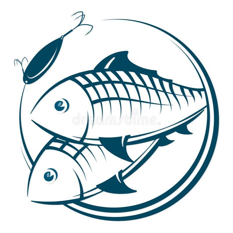 Vissen en aassilhouet royalty-vrije illustratie
