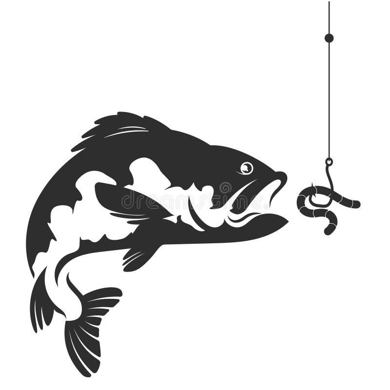 Vissen en een worm op een haak vector illustratie