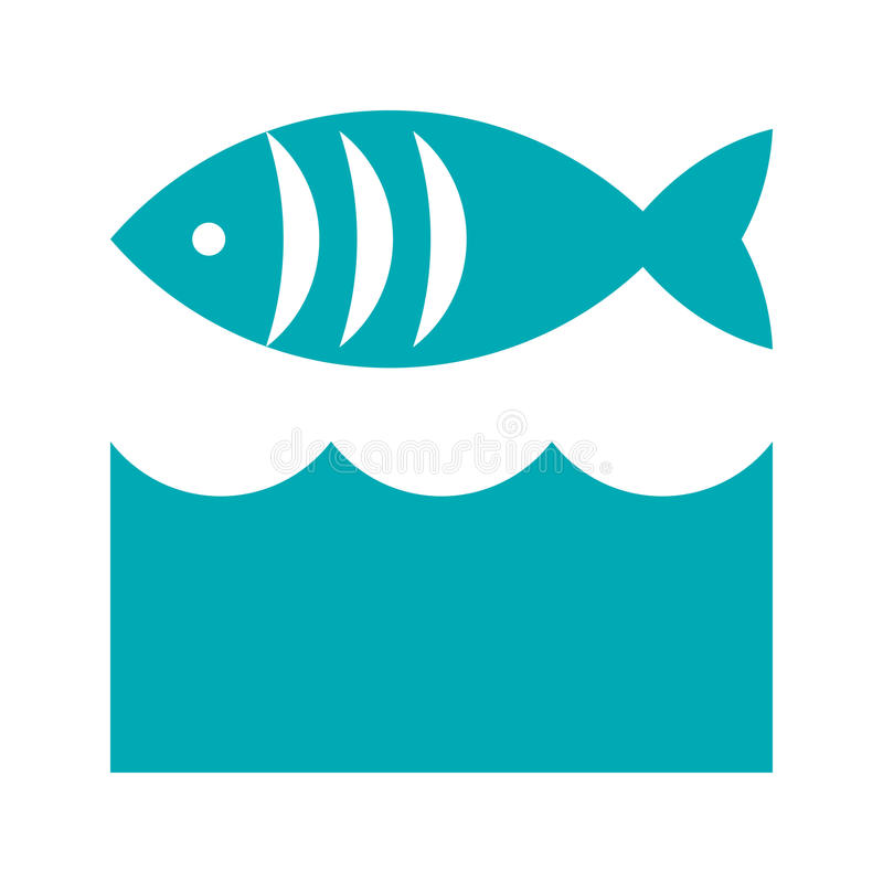 Vissen en golvenpictogram royalty-vrije illustratie