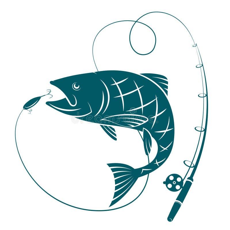 Vissen en hengel Silhouetten voor visserij vector illustratie