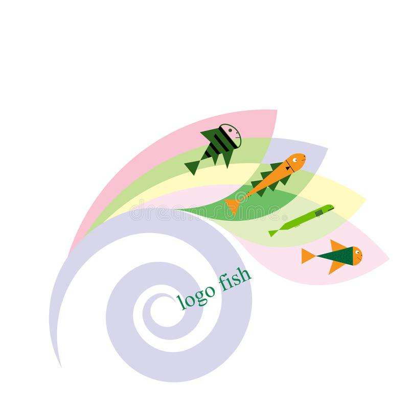 Vissen en het malplaatje van het visserijembleem voor uw ontwerp Pictogram of embleem vectorillustratie stock illustratie