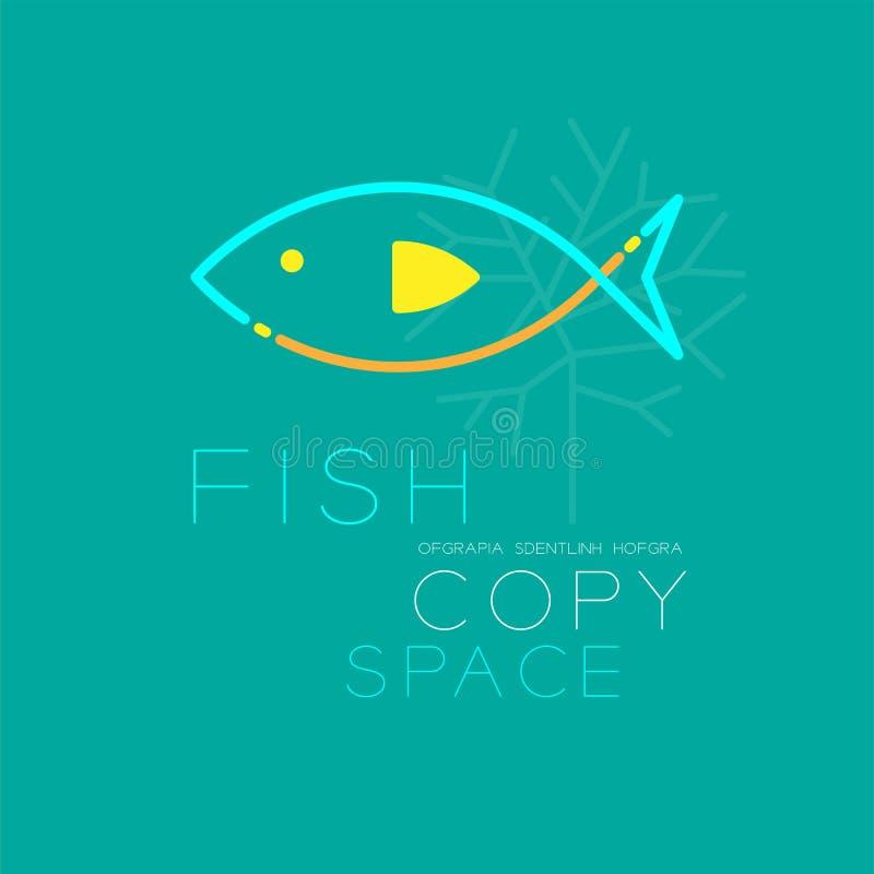 Vissen en Koraal van de het overzichtsslag van het embleempictogram ontwerp van de het streepjelijn het vastgestelde stock illustratie