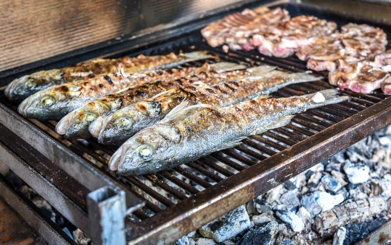 Vissen en lapje vlees op de houtskoolgrill samen royalty-vrije stock afbeelding