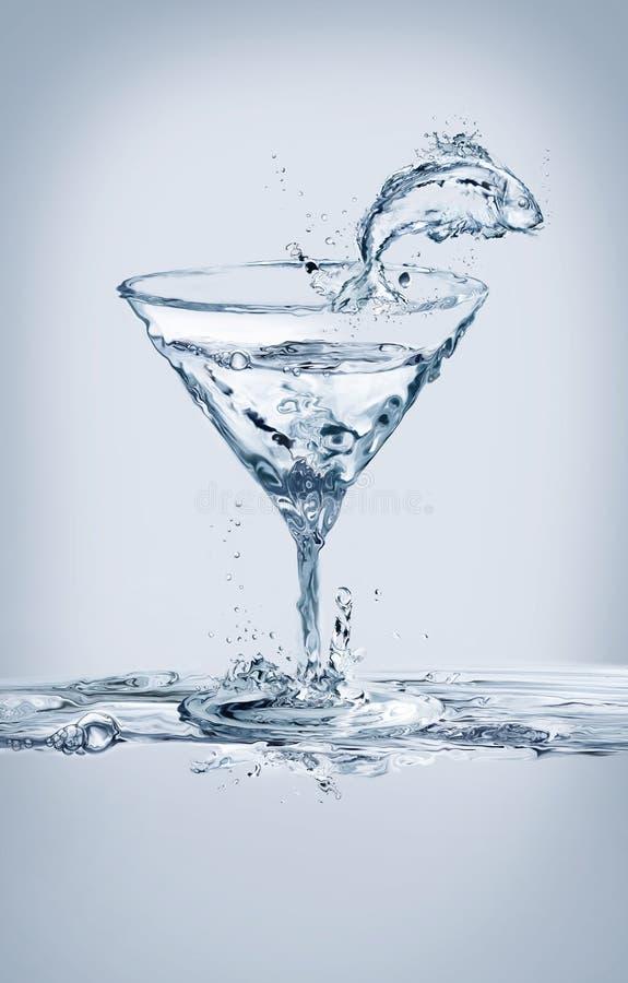 Vissen en Martini-Glas stock foto's