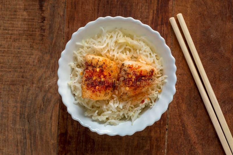 Vissen en rijst royalty-vrije stock fotografie