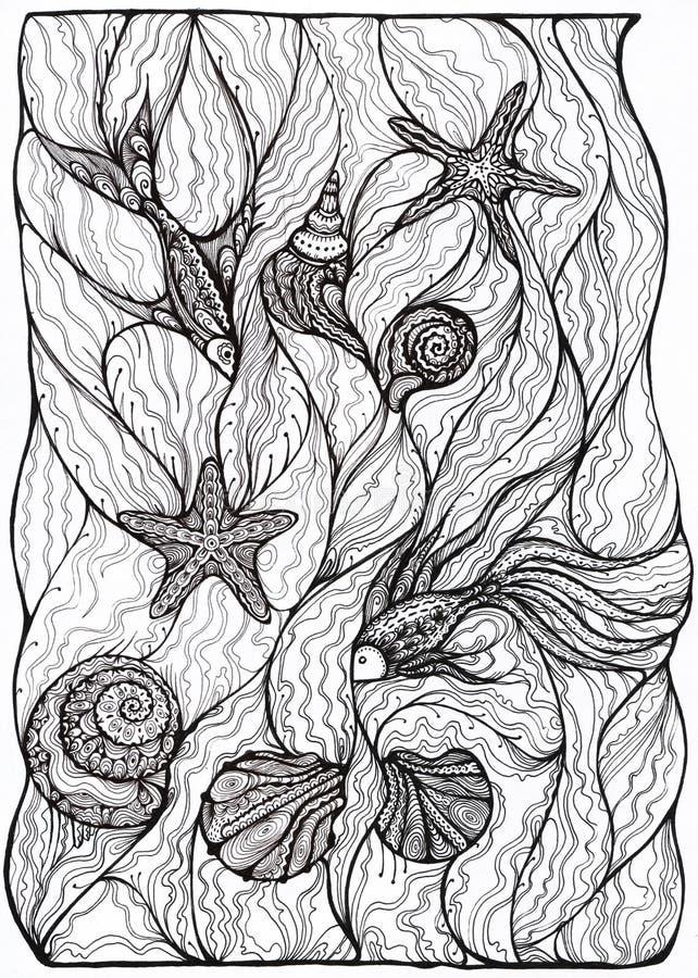 Vissen en Shells royalty-vrije illustratie