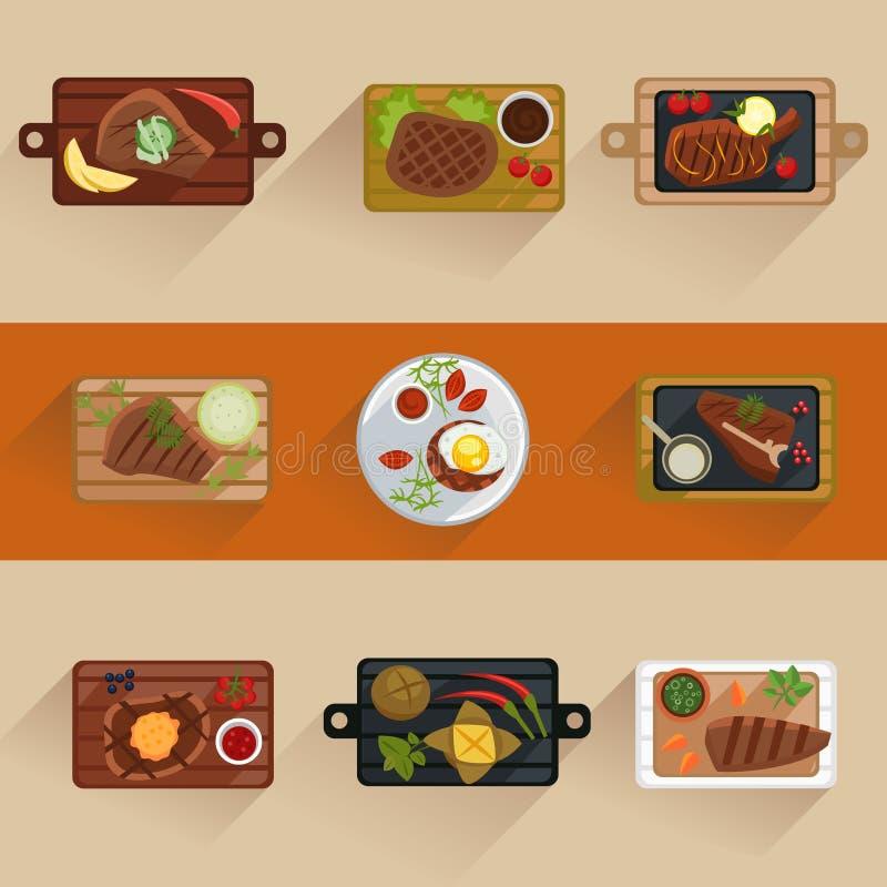 Vissen en vleeslapjes vlees die vlak geïsoleerd pictogram koken vector illustratie