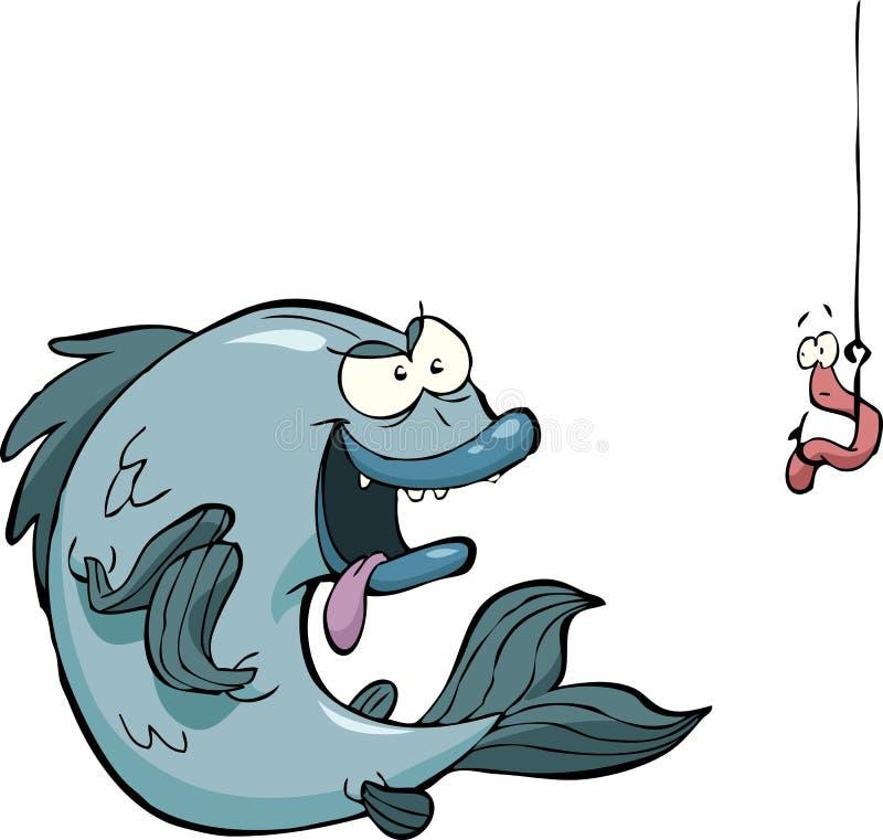 Vissen en worm vector illustratie