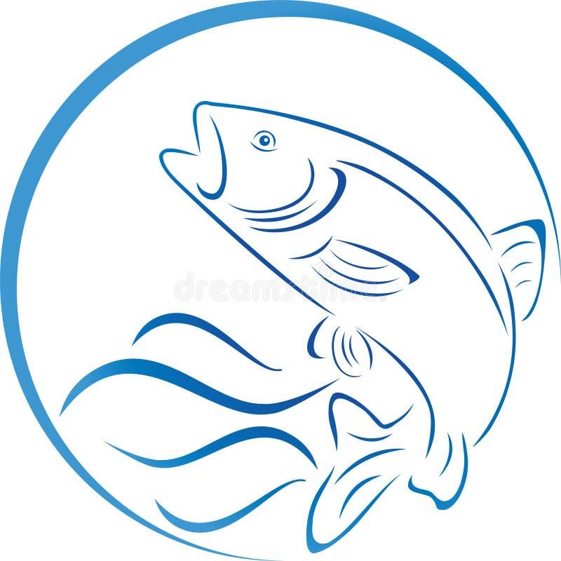 Vissen, forel en watergolven, vissen en visserijembleem royalty-vrije illustratie