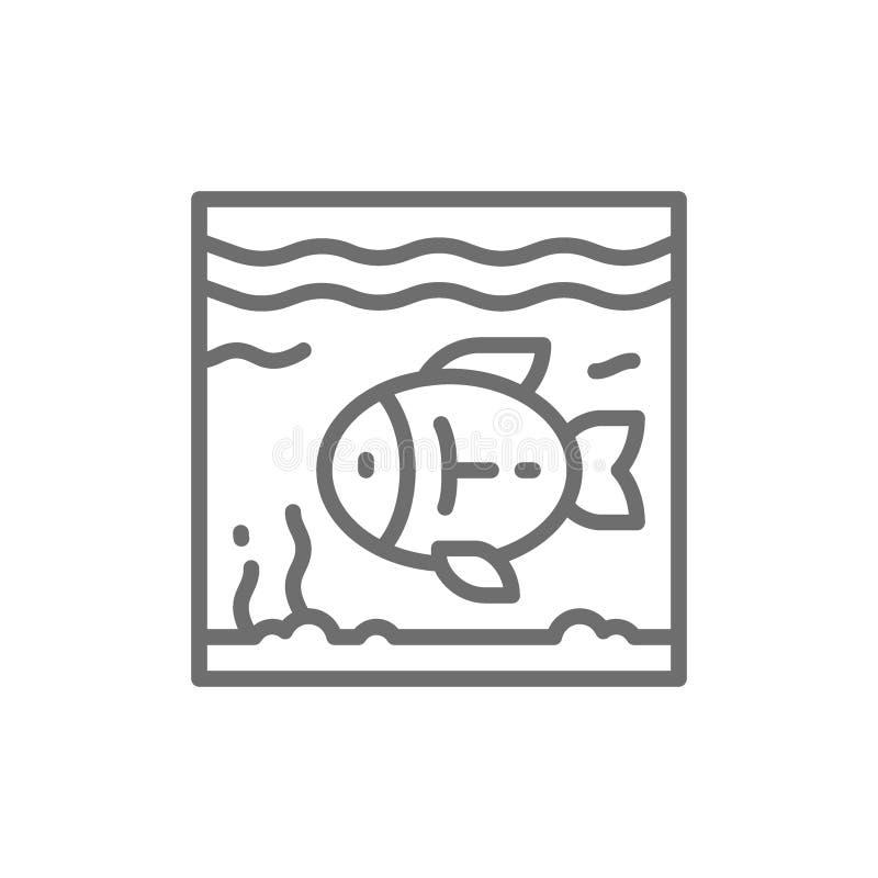 Vissen in het pictogram van de aquariumlijn royalty-vrije illustratie