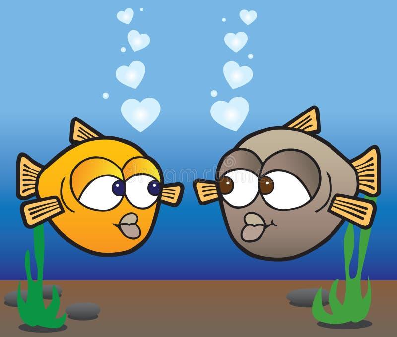 Vissen in liefde stock illustratie