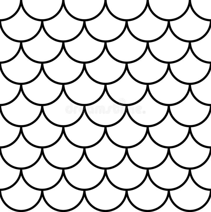 Vissen, meermin, draak, slangschalen Het naadloze patroon van de staartschaal royalty-vrije stock afbeelding