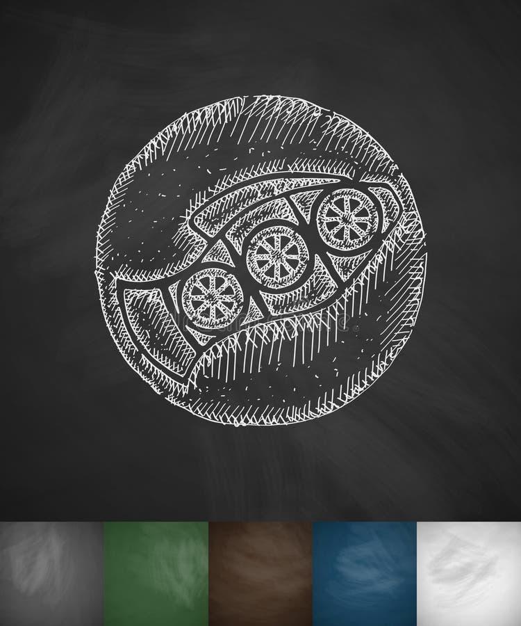 Vissen met citroenpictogram Hand getrokken vectorillustratie royalty-vrije illustratie