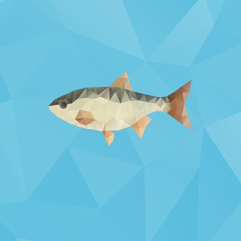Vissen met driehoeken op veelhoekige achtergrond worden gemaakt die stock illustratie