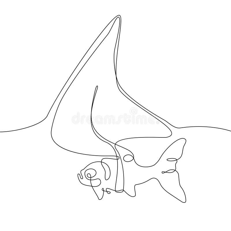 Vissen met een haaivin - één de stijlillustratie van het lijnontwerp stock illustratie