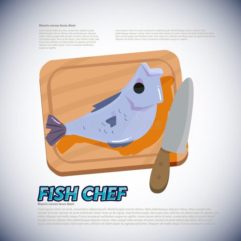 Vissen met het hakken van blok en mes het voorbereidingen treffen te koken - I stock illustratie