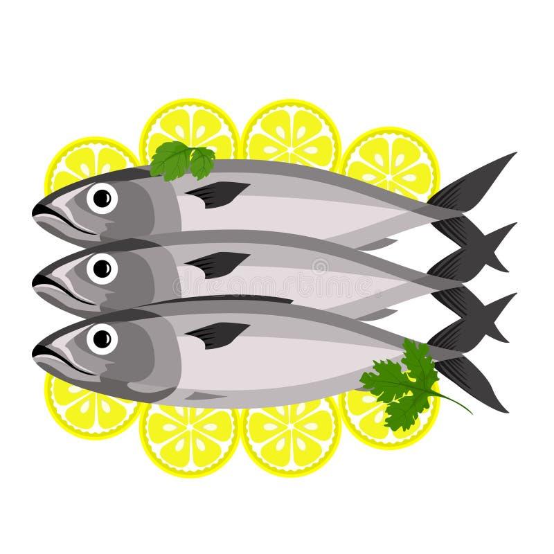 Vissen met peterselie en citroen stock illustratie