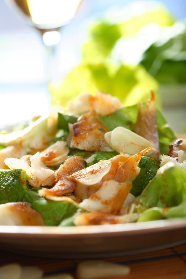 Vissen met salade royalty-vrije stock foto