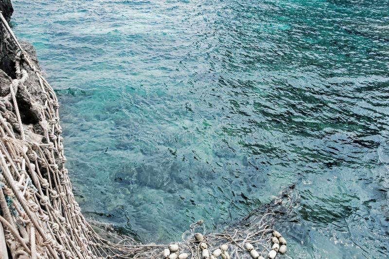 Vissen netto in blauwe oceaan stock foto
