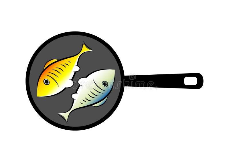 Vissen op pan vector illustratie