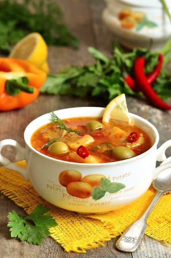 Vissen solyanka - traditionele Russische soep met groenten in het zuur stock foto's
