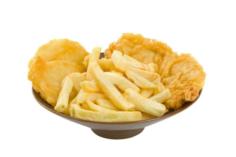Vissen, Spaanders en de Cakes van de Aardappel stock afbeeldingen
