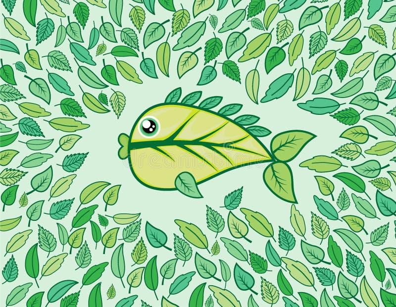 vissen van blad met mooie groene kleur stock fotografie