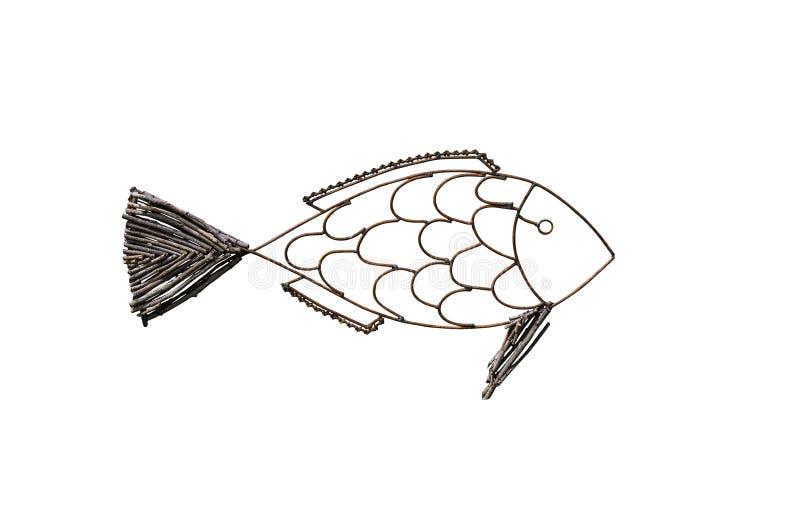 Vissen van kringloopmetaal en takken die voor geïsoleerd Decorate worden gemaakt royalty-vrije stock foto